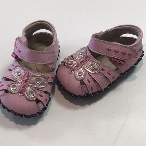 Pediped Pink butterfly shoes baby girls 0-6mos